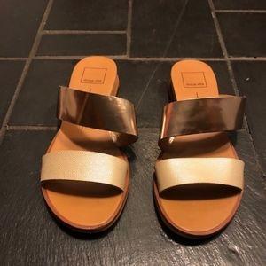 Dolce Vita Gold & Creme Sandals- Women's Size 7.5